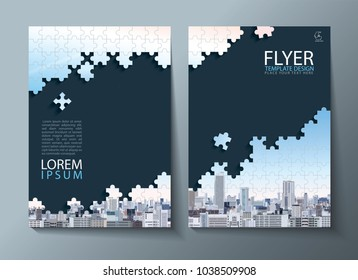 Annual report brochure, flyer design, Leaflet cover presentation abstract flat background, book cover templates, Jigsaw puzzle image. Layout in A4 size.