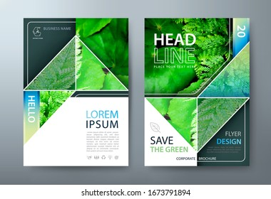 Annual report brochure flyer design, Leaflet presentation, book cover templates, layout in A4 size. Save the green image. vector.
