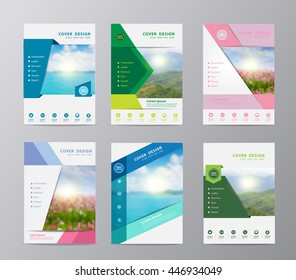 Annual report brochure flyer design template vector, Set of leaflet cover presentation nature landscape background, layout in A4 size
