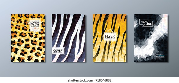 Annual report brochure, flyer design template, leaflet, book cover, presentation. Wild animal abstract background. tiger, zebra, leopard, cow.