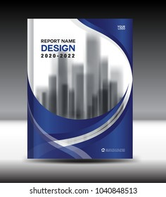 Annual report brochure flyer template, Blue cover design, business advertisement, magazine ads, catalog vector layout in A4 size