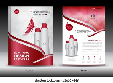 Annual report brochure flyer template, red cover design, cosmetics, spa, advertisement, magazine ads, catalog