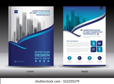 Annual report brochure flyer template, Blue cover design, business flyer template, advertisement, infographic vector