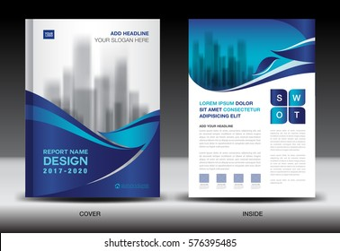 Annual report brochure flyer template, Blue cover design, business, company profile, book, magazine ads, booklet,catalog, infographics