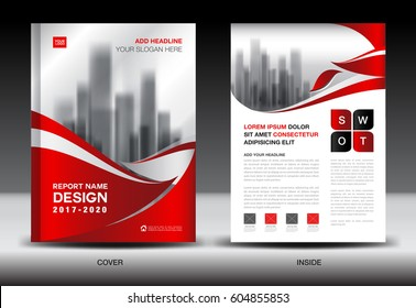 Annual report brochure flyer template, Red cover design, business, company profile, book, magazine ads, booklet,catalog, infographics