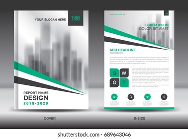 green cover annual report brochure flyer stock vector royalty free