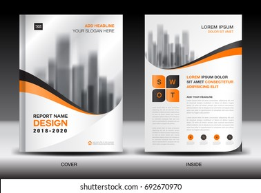 Annual report brochure flyer template, Orange cover design, business advertisement, magazine ads, catalog, book, infographics element vector layout in A4 size