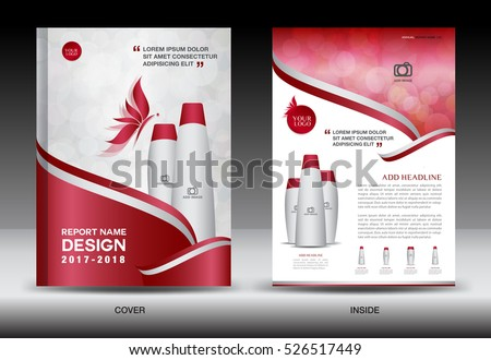 annual report brochure flyer template red のベクター画像素材