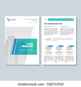 Annual report, broshure, flyer, magazine abstract city background blue green cover vector size template A4. Corporate Presentation, Poster, Website, Portfolio, Banner, Color Book