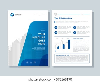 Annual report, broshure, flyer, magazine abstract city background blue cover vector size template A4. Corporate Presentation, Poster, Website, Portfolio, Banner, Color Book