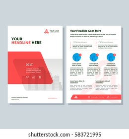 Annual report, broshure, flyer, magazine abstract city background red cover vector size template A4. Corporate Presentation, Poster, Website, Portfolio, Banner, Color Book