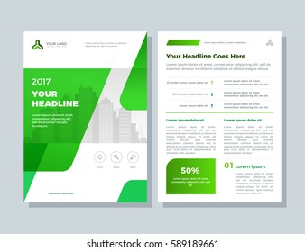 Annual report, broshure, flyer, magazine abstract city background green cover vector size template A4. Corporate Presentation, Poster, Website, Portfolio, Banner, Color Book