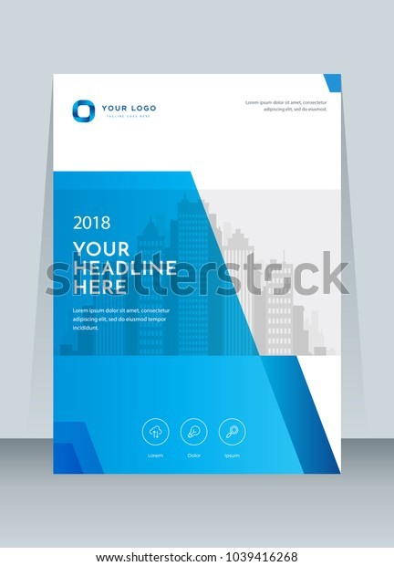 Annual report, broshure, flyer, magazine abstract background blue cover vector size template A4. Corporate Presentation, Poster, Banner, Color Book