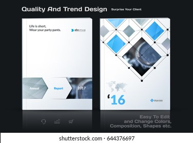 Annual report, business abstract vector template. Brochure design, cover modern layout, poster, flyer in A4 with colourful rectangles, arrows, shadows for tech, science, market with light background.