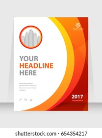 Annual report, cover design abstract background, Magazine, orange and red color broshure, template A4. Book, Corporate Presentation, Poster, Website, Flyer, Portfolio, Banner