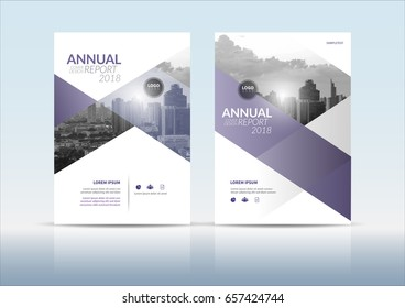 Annual report cover, flyer, presentation, brochure. Front page with A4 mark and  bleed guide. Design layout template in A4 size . Building background with purple grey color templates.