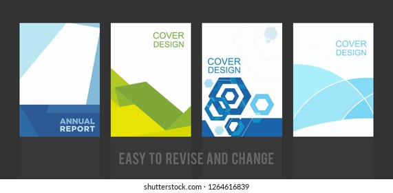 Annual Report Cover Set. Graphic Design Template. Layout Book. A4 Vector Illustration. Eps 10