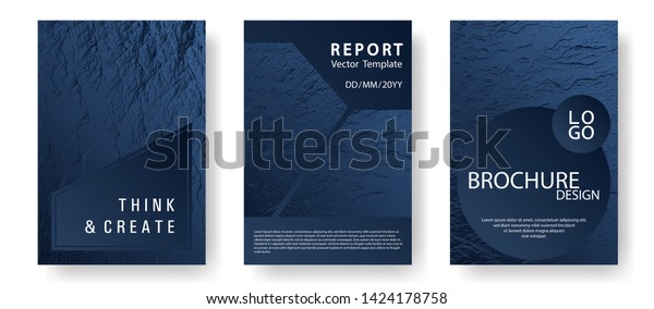 Annual Report Covers Design Set Dark Stock Image Download Now