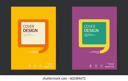 Annual report design layout. Book cover design vector template in A4 size. Brochure, business catalog. Vector design speech bubble for Cover design. Abstract Vector illustration.
