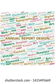 Annual Report Design word cloud. Wordcloud made with text only.