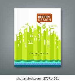 Annual Report environment origami paper design, vector illustration