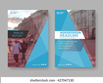 Annual report, flyer, presentation, brochure. Front page report , book cover layout design. Design layout template in A4 size . Abstract blue red cover templates