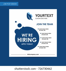 Annual report job post flyer template, blue cover design, spa, advertisement, magazine ads, catalog