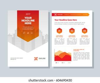 Annual report, orange color vector broshure, flyer, magazine, abstract city background. Corporate Presentation, Poster, Website, Portfolio, Banner, Color Book