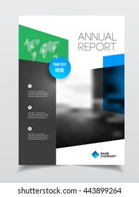 Annual report vector illustration. Brochure with text. A4 size corporate business brochure cover. Business presentation with photo and geometric graphic elements. Catalogue template
