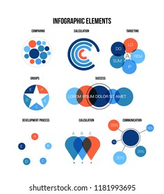 Annual Report Visualisation Inforgaphic Elements Vector Set. Blue, Brown, Orange Pie Chart, Circle Diagram, Rating, Target, Flowchart Presentation Information. Simple Marketing Inforgaphic Elements