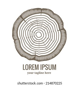 Annual tree growth rings logo icon with greyscale vector drawing of the cross-section of a tree trunk with copyspace fot text below