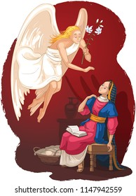 The Annunciation, Angel Gabriel announcement to Mary of the incarnation of Jesus. Also available coloring book version.