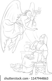 The Annunciation. Angel Gabriel announcement to Mary of the incarnation of Jesus. Coloring page. Also available colored version