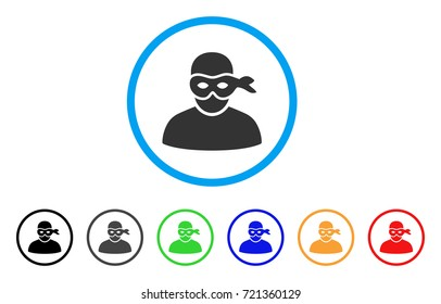 Anonimious Thief rounded icon. Style is a flat anonimious thief gray symbol inside light blue circle with black, gray, green, blue, red, orange versions.