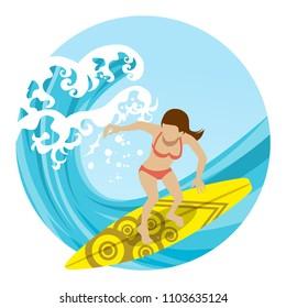 Anonymity Female surfer riding big wave - circular clip art