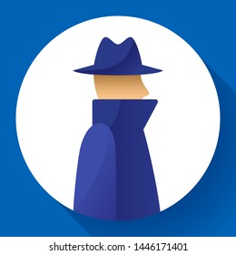 Anonymity icon concept, spy, detective, agent anonym in coat and hat icon, anonymous, vector illustration