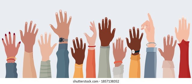 Anonymous arms and raised hands of multiethnic multicultural people. Crowd diversity people. Participation or election concept. Man and women of diverse races. Communication. Racial equality