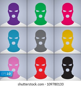 The anonymous author of avatars in a cap-mask, vector Eps10 illustration.
