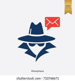 Anonymous and Email Icon Vector Flat Computer Sign Symbol Graphic