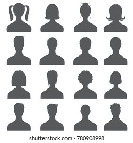 Anonymous face people heads vector silhouettes. Monochrome business user profiles. Anonymous avatar person user illustration