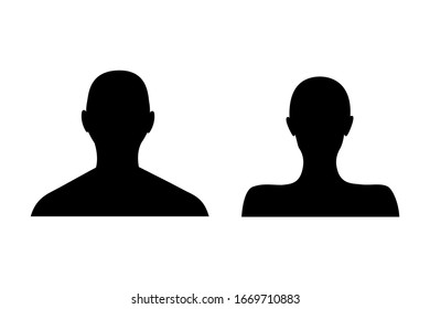 Anonymous female and male face avatar. Incognito man and woman head silhouette.