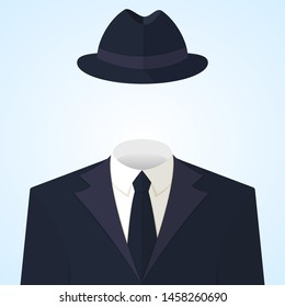 Anonymous or invisible man in a suit and in a fedora hat. Flat style colorful vector concept illustration icon on light blue background.