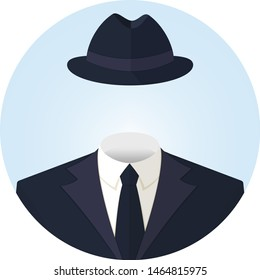 Anonymous or invisible man in a suit and in a hat. Flat style vector round avatar illustration icon isolated on white.