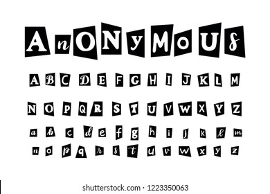 Anonymous letter set for secret message. Alphabet to create text from not named or identified author, cut newspaper and magazine symbols design. Vector black font