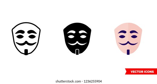 Anonymous mask icon of 3 types: color, black and white, outline. Isolated vector sign symbol.
