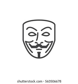 Anonymous mask line icon, outline vector sign, linear pictogram isolated on white. Hacker symbol, logo illustration