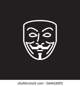 Anonymous mask line icon, outline vector sign, linear white pictogram isolated on black. Hacker symbol, logo illustration