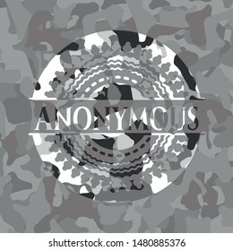 Anonymous on grey camouflaged texture
