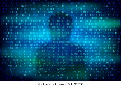 Anonymous silhouette on the blue background with binary code texture. Cybercrime and cyber security conceptual vector illustration.