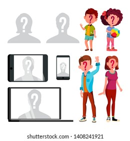 Anonymous Silhouette And Unknown Person Set Vector. Characters Children, Man And Woman With Question Mark On Face And Silhouette Of Human Head On Profile Avatar. Flat Cartoon Illustration